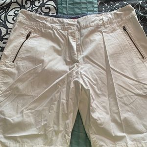 Pants - Women White Bermuda Shorts